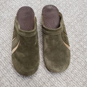 Dansko green/brown suede clogs